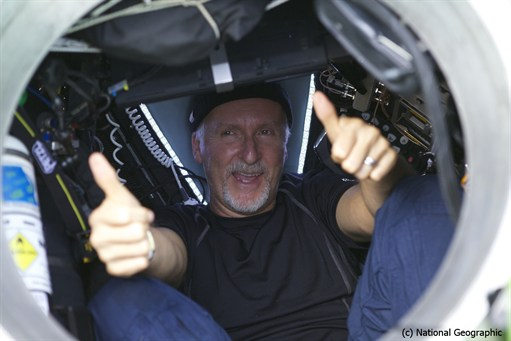 James Cameron emerging from submarine
