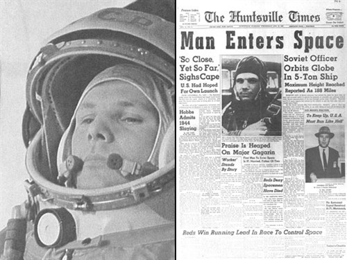 Yuri Gagarin newspaper