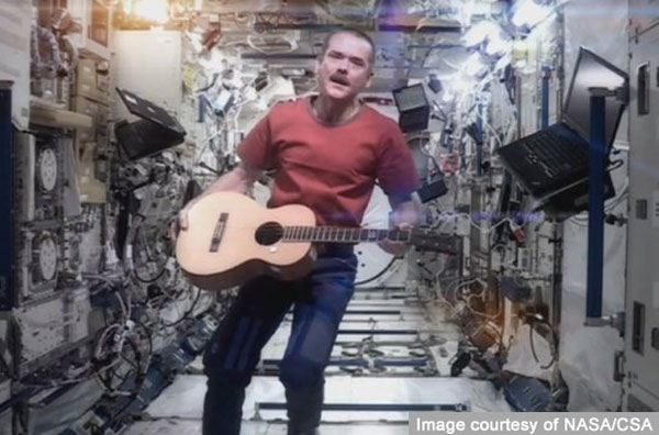 Musical astronaut Commander Chris Hadfield touches down...